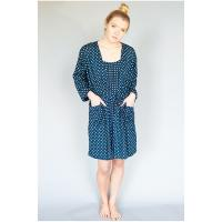 Caro London|Short robe|navy spot|summer|ladies summer robe|travel|cotton|