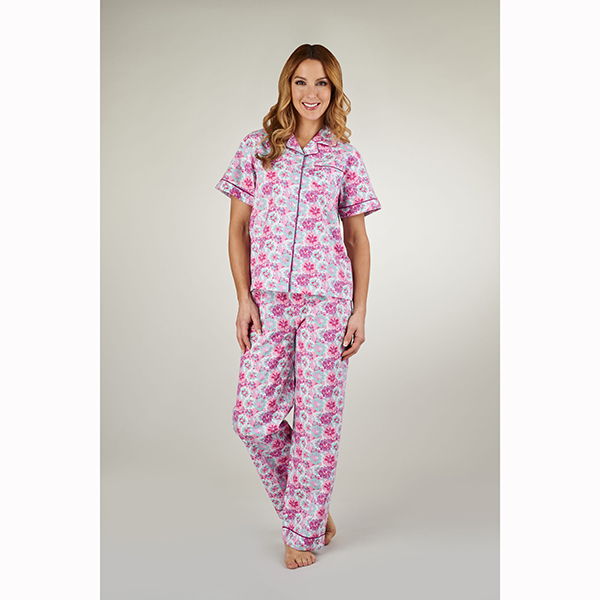 Slenderella|Pyjama|PJ1254|pink|cotton|cotton pyjamas|painted flowers|summer pyjamas|ladies summer pyjamas|Pollard and Read