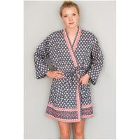 Caro London|Short|Kimono|cotton|summer kimono|ladies night wear|heart|grey|